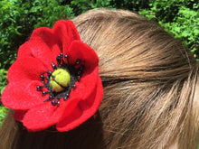 Load image into Gallery viewer, Handcrafted Red Poppy Hair/Accessory Pin (Made from Felt fabric that is 100% recycled water bottles!)
