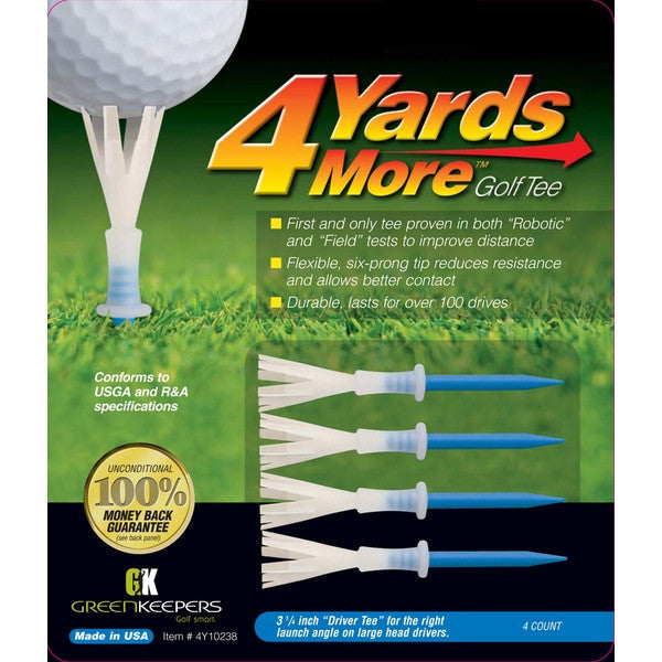 "4YardsMore 3 1/4"" Driver Blue Golf Tee (4ct)"