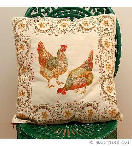 Cushion Cover - Rooster & Hens