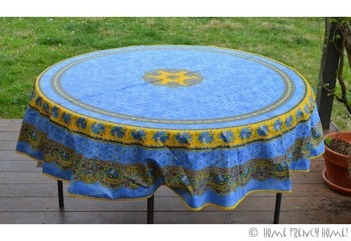 Coated Tablecloth, Round - Provence Tradition Blue