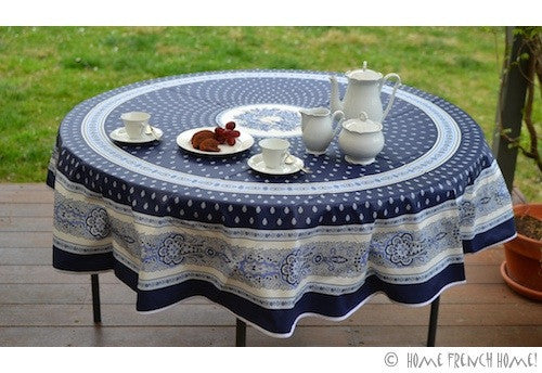Coated Tablecloth, Round - Avignon Navy Blue
