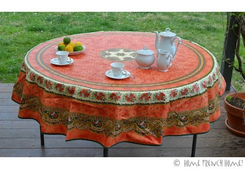 Coated Tablecloth, Round - Provence Tradition Terracotta