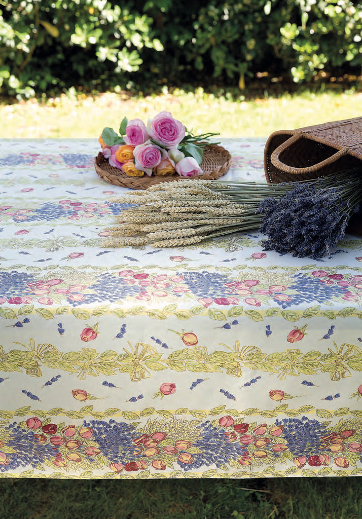 Coated Tablecloth - Lavender and Roses