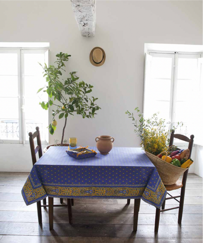 Coated Tablecloth - Avignon Lavender Blue