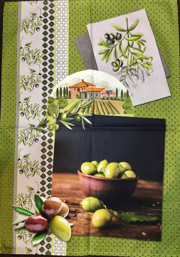 "Printed Cotton Tea-towel - ""Olive Grove"""