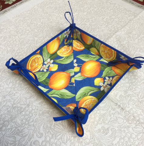 French Bread Basket - Provence Lemons Blue