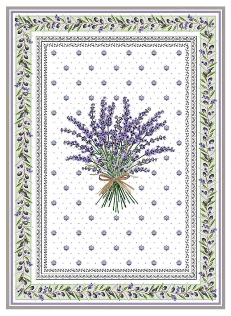 "Printed Cotton Tea-towel - ""Lavender"""