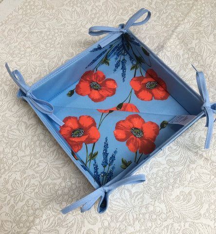 French Bread Basket - Poppies on Blue