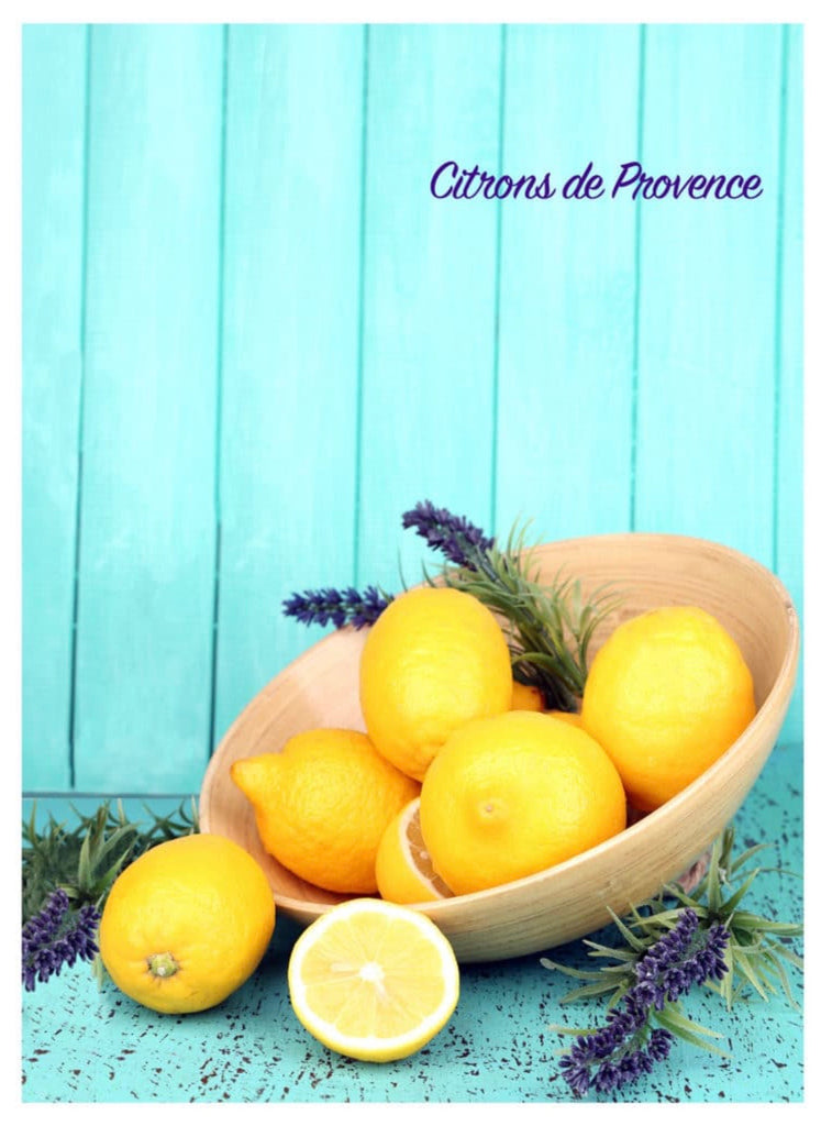 "Printed Cotton Tea-towel - ""Lemons"""