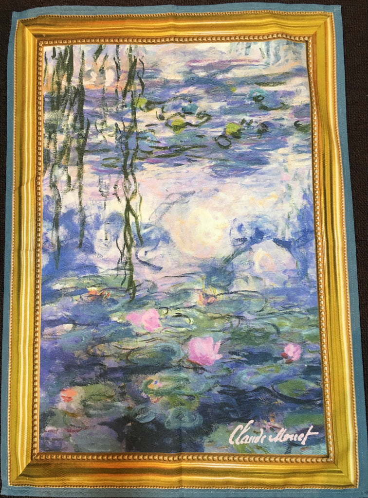 "Printed Cotton Tea-towel - ""Monet Water Lilies"""