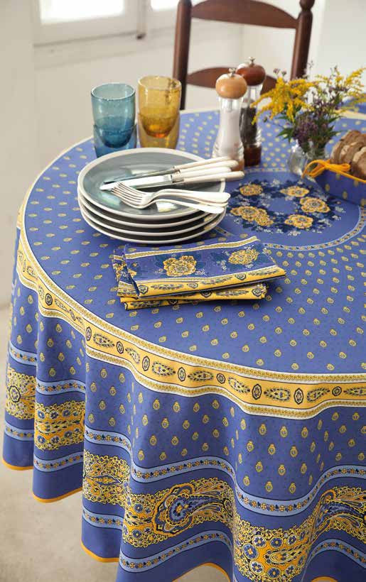 Coated Tablecloth, Round - Avignon Lavender Blue