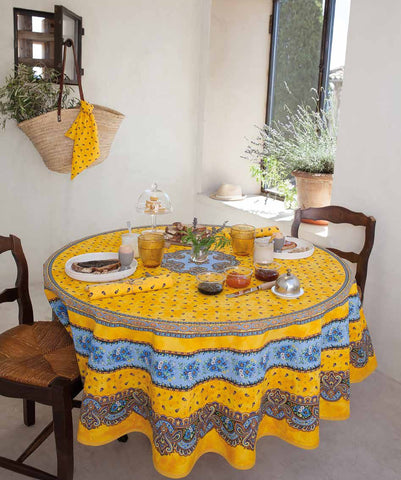 Coated Tablecloth, Round - Provence Tradition Yellow