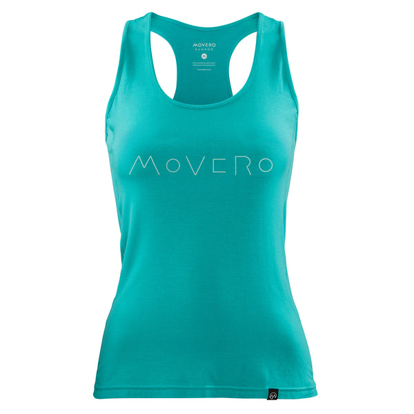 Blue to some, green to others. We´re all about keeping the peace, so we´ve called it aqua. Performance bamboo racerback vest with Movero written in well, a line. Premium, organic, sustainable bamboo activewear. Soft and breathable make for the best natural activewear to move in.