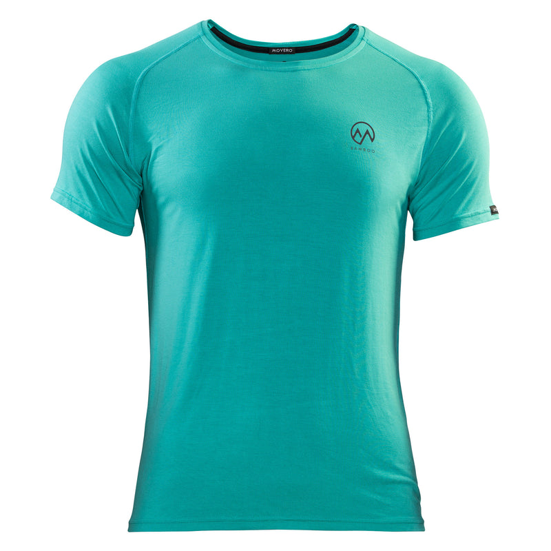 "High performance and ultimate comfort woven together into our men's bamboo activewear. Perfect for a before, during and after workouts. This cool aqua t-shirt (green to some, blue to others) is understated with a small Movero icon and ""bamboo"", printed on the left chest. Designed with raglan sleeves, a technical stitch and athletic fit that drops slightly at the back. Our bamboo is breathable, so even when you sweat, you're comfortable. All this from a natural, eco-friendly fabric."