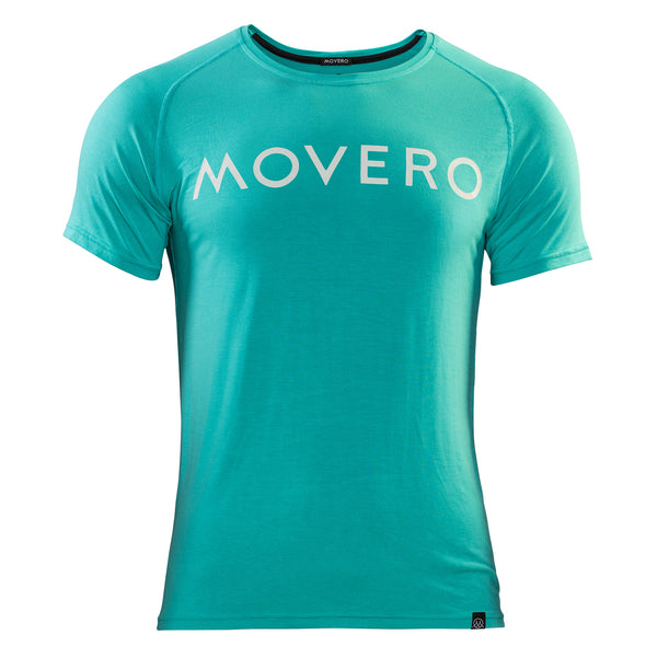 Our men's baseline bamboo aqua top is built for performance and made to last. Shaped with an athletic fit that drops down seamlessly at the back, so you can bend without it riding up. Raglan sleeves and flat stitching means ease of movement and zero chafe. Movero is printed across the chest in a premium quality, white ink for a classy finish. Our bamboo activewear offers athletes next level technical support with temperature regulating, breathable and antibacterial properties.