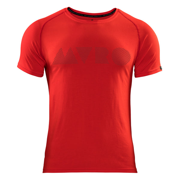"Athletes of Europe, we've combined performance quality and natural comfort into what we believe to be the best training top for every workout. This red bamboo t-shirt is a comfortable athletic fit with raglan sleeves and technical stitching for zero chafe. Bold and stylish. A ""MVRO"" formation is printed across the chest using dots, with a high-quality Movero label on the sleeve. Our activewear is made from organically grown bamboo, meaning it´s breathable, temperature-regulating and sustainable."