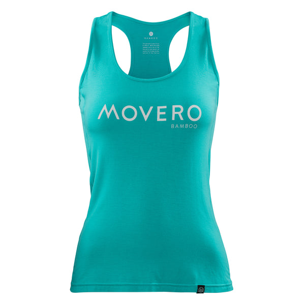 Like the other tops in our collection, this Movero training vest is silky soft and offers next level comfort. Turquoise to the eye (or blue, or green, or aqua - whichever you prefer). Our women's racerbacks are design with a double panel side flat stitch, meaning zero chafe when you move. Movero is boldly shown on the chest, with a subtle woven label at the end seam. Our  organic bamboo is eco certified and sustainably grown, woven into what we believe to be the best activewear for every workout.