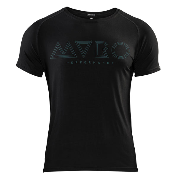 "If you're on the move in Europe, we recommend our men's Ripple black t-shirt. High quality, style, function and next level comfort. So whether you're running, climbing, at yoga or crossfit, you'll feel unstoppable in our bamboo. This black t-shirt has ""MVRO Performance"" printed in turquoise lines over the chest, with a classy ´Movero´ label on the sleeve. Designed with a technical ´zero-chafe´ stitch and raglan-sleeves. Our natural bamboo is breathable, temperature-regulating and sustainable."