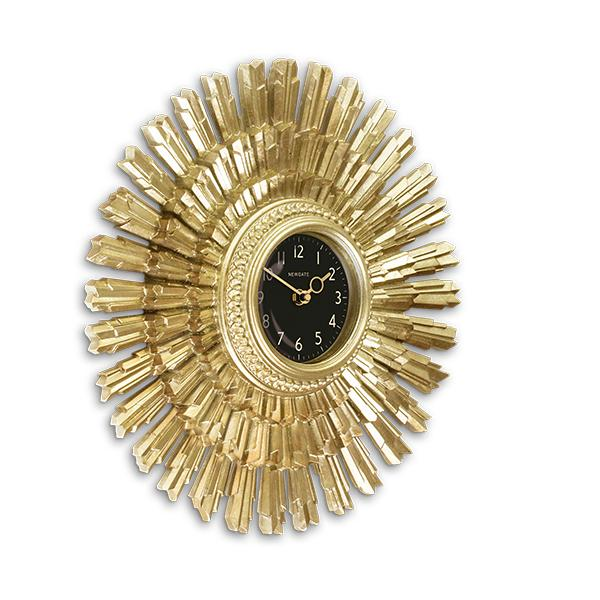 Art Deco Sunburst Wall Clock - Vintage Gold Star - Newgate Sunblaze SBLAZE253VS (skew)