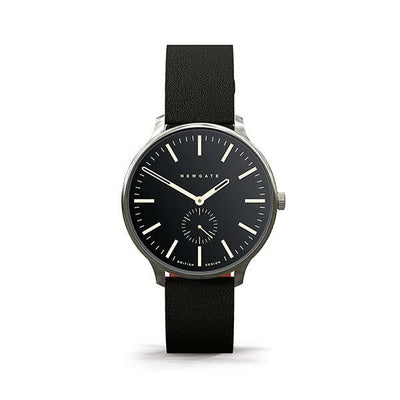 Black Leather Watch - Black Dial - Men's Women's - British Design - Newgate Blip WWMBLPVS024LK (front)