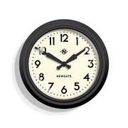 Black Station Wall Clock - Retro Mid-Century - Newgate Electric GWL12MK