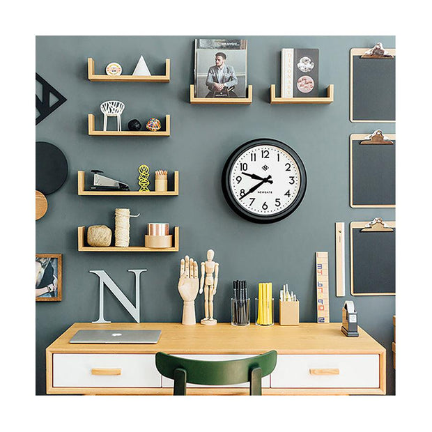 Black Station Wall Clock - Retro Mid-Century - Newgate Electric GWL12MK (room decor) 1 copy