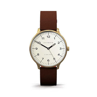 Brown Leather Watch - Brass Gold - Men's Women's - British Design - Newgate Blip  WWMBLPVB026LB (front)