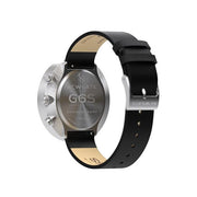 G6S Black Leather Watch Strap - Steel - Reverse