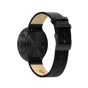 G6 Black Leather Watch Strap - Black Clasp - Reverse View