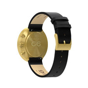 G6 Black Leather Watch Strap - Brass Clasp - Reverse View