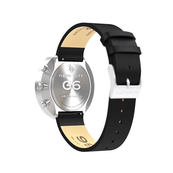 G6 Black Leather Watch Strap - Steel Clasp - Reverse View