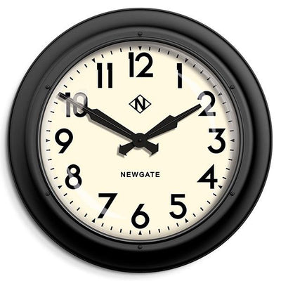 Giant Station Clock - Industrial Black Wall Clock Retro Mid-Century - Newgate Electric AWN91MK