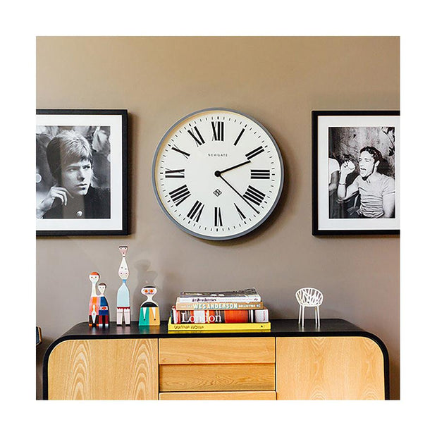 Large Grey Roman Numeral Wall Clock - Newgate Italian NUMONE148PGY (room decor) 1 copy