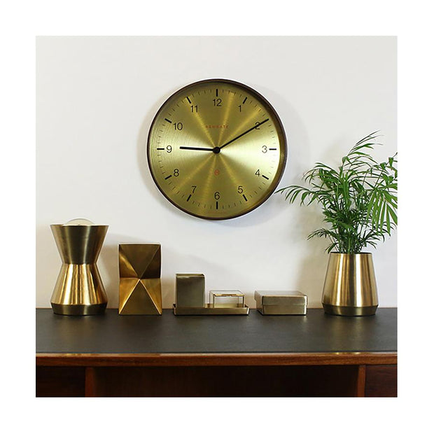 Large Mid-Century Brass Wall Clock - Dark Wood - Newgate Mr Clarke MRC222DPLY40 (room decor) 1 copy