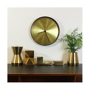 Large Mid-Century Brass Wall Clock - Dark Wood - Newgate Mr Clarke MRC224PLY40 (room decor) 1 copy