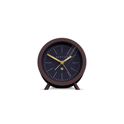Mid-Century Modern Alarm Clock - Silent 'No Tick' - Brown Black - Newgate Fred FRED413CHK