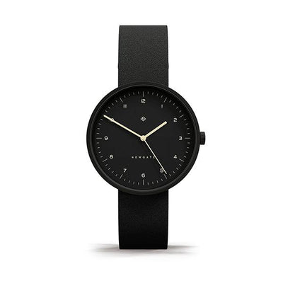 Minimalist Black-on-Black Leather Watch - Modern Contemporary Men's Women's - British Design - Newgate Drumline WWMDLNBK058NK (front)