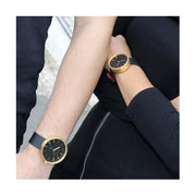 Minimalist Black Gold Watch - Modern Leather - Contemporary Men's Women's - British Design - Newgate Drummer WWMDRMRB031LK (fashion) 3