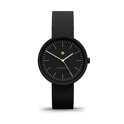 Minimalist Black Leather Watch - Modern Contemporary Men's Women's - British Design - Newgate Drumline WWMDLNBK061NK (front)