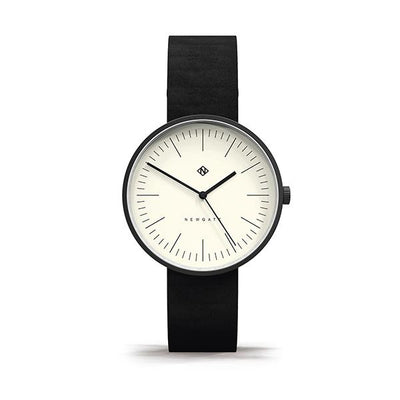 Minimalist Black Leather Watch - Modern Contemporary Men's Women's - British Design - Newgate Drumline WWMDLNBK062NK (front)