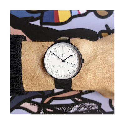 Minimalist Black Leather Watch - Modern Contemporary Men's Women's - British Design - Newgate Drumline WWMDLNBK062NK (fashion)