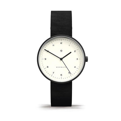 Minimalist Black Leather Watch - Modern Contemporary Men's Women's - British Design - Newgate Drumline WWMDLNBK063NK (front)