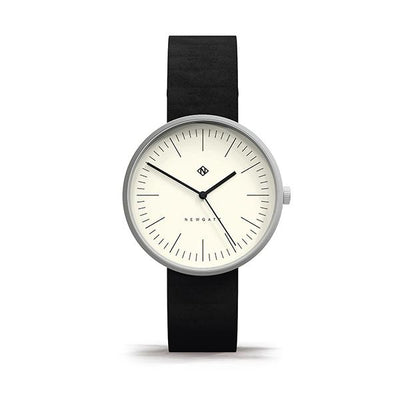 Minimalist Black Leather Watch - Modern Contemporary Men's Women's - British Design - Newgate Drumline WWMDLNBS062NK (front)