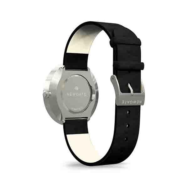 Minimalist Black Leather Watch - Modern Contemporary Men's Women's - British Design - Newgate Drumline WWMDLNBS062NK (back)