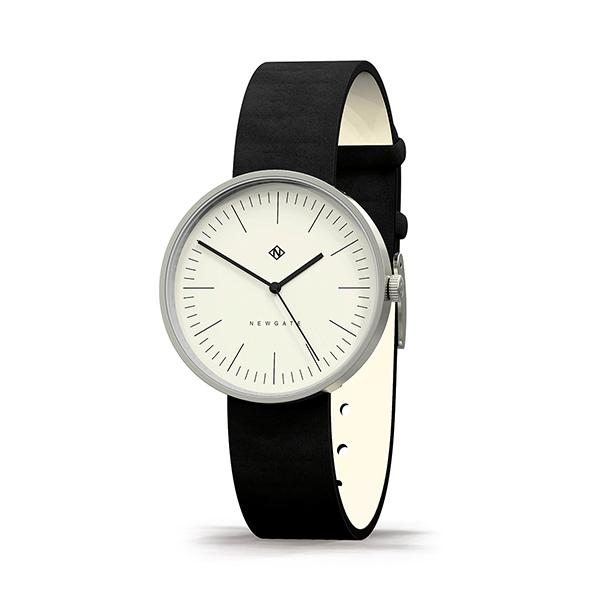 Minimalist Black Leather Watch - Modern Contemporary Men's Women's - British Design - Newgate Drumline WWMDLNBS062NK (skew)