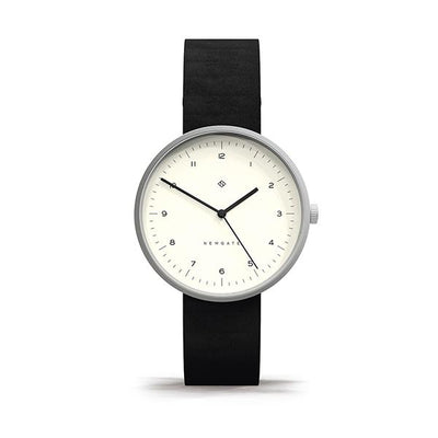 Minimalist Black Leather Watch - Modern Contemporary Men's Women's - British Design - Newgate Drumline  WWMDLNBS063NK (front)