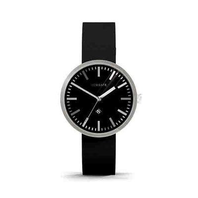 Minimalist Black & Steel Watch - Modern Leather - Contemporary Men's Women's - British Design - Newgate Drummer WWMDRMRS034LK (front)