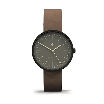 Minimalist Brown Leather Watch - Modern Contemporary Men's Women's - British Design - Newgate Drumline WWMDLNBK060NB (front)