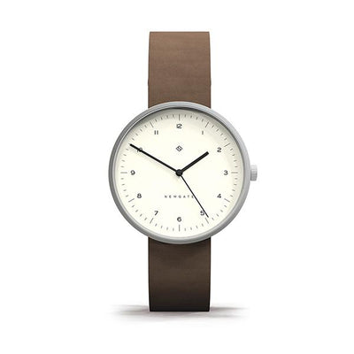 Minimalist Brown Leather Watch - Modern Contemporary Men's Women's - British Design - Newgate Drumline WWMDLNBS063NB (front)