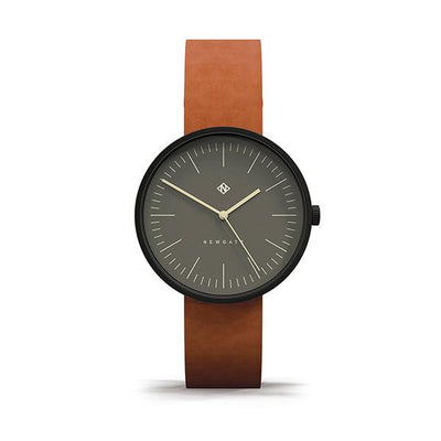 Minimalist Tan Leather Watch - Modern Contemporary Men's Women's - British Design - Newgate Drumline WWMDLNBK060LT (front)